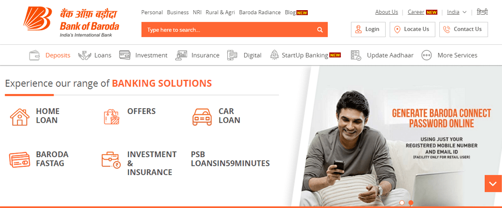 change mobile number in bank of baroda