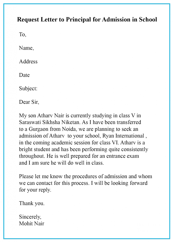 request letter for school admission