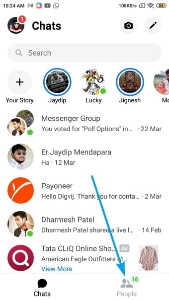 remove contacts from messenger
