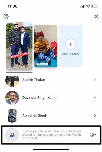 see other viewers list on facebook story