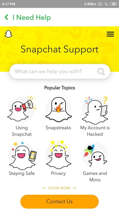 reset snapchat password without phone number or email